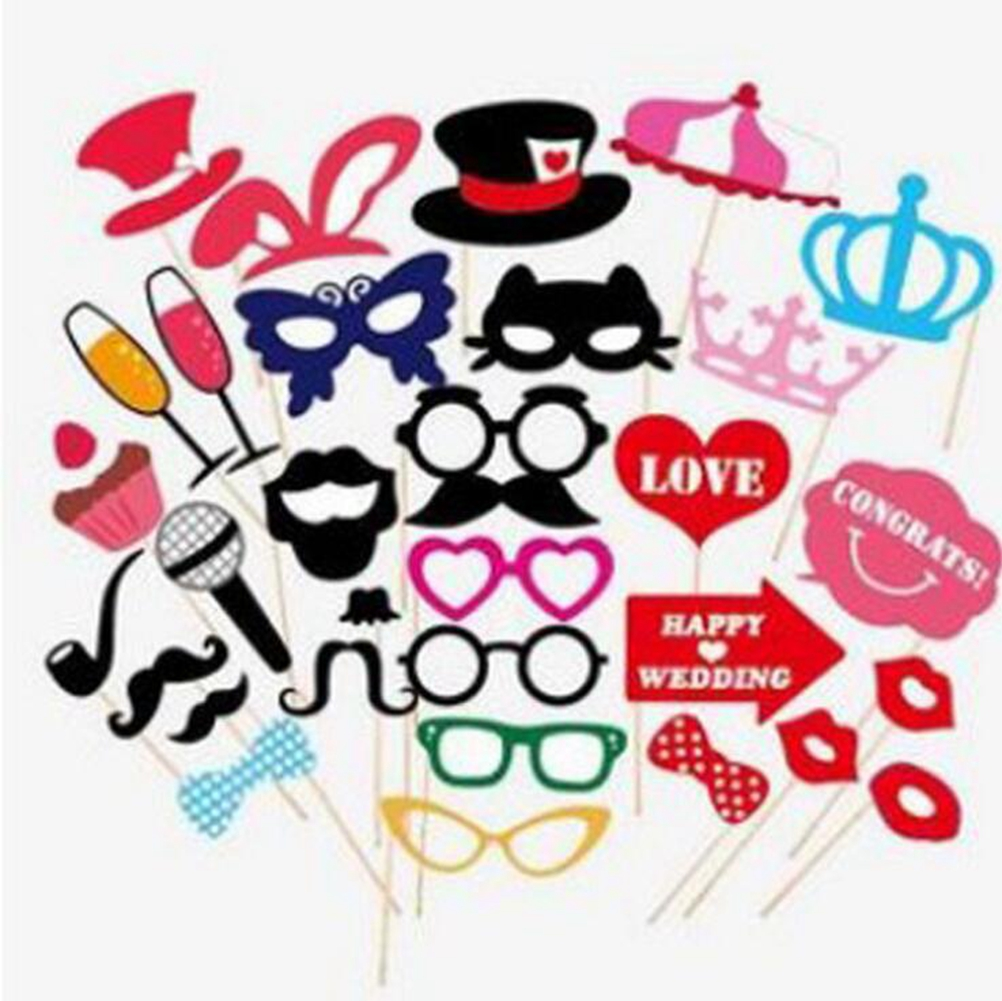 31-Piece Photo Booth Props Party Favor for Wedding Party Graduation Birthdays with Champagne Microphone