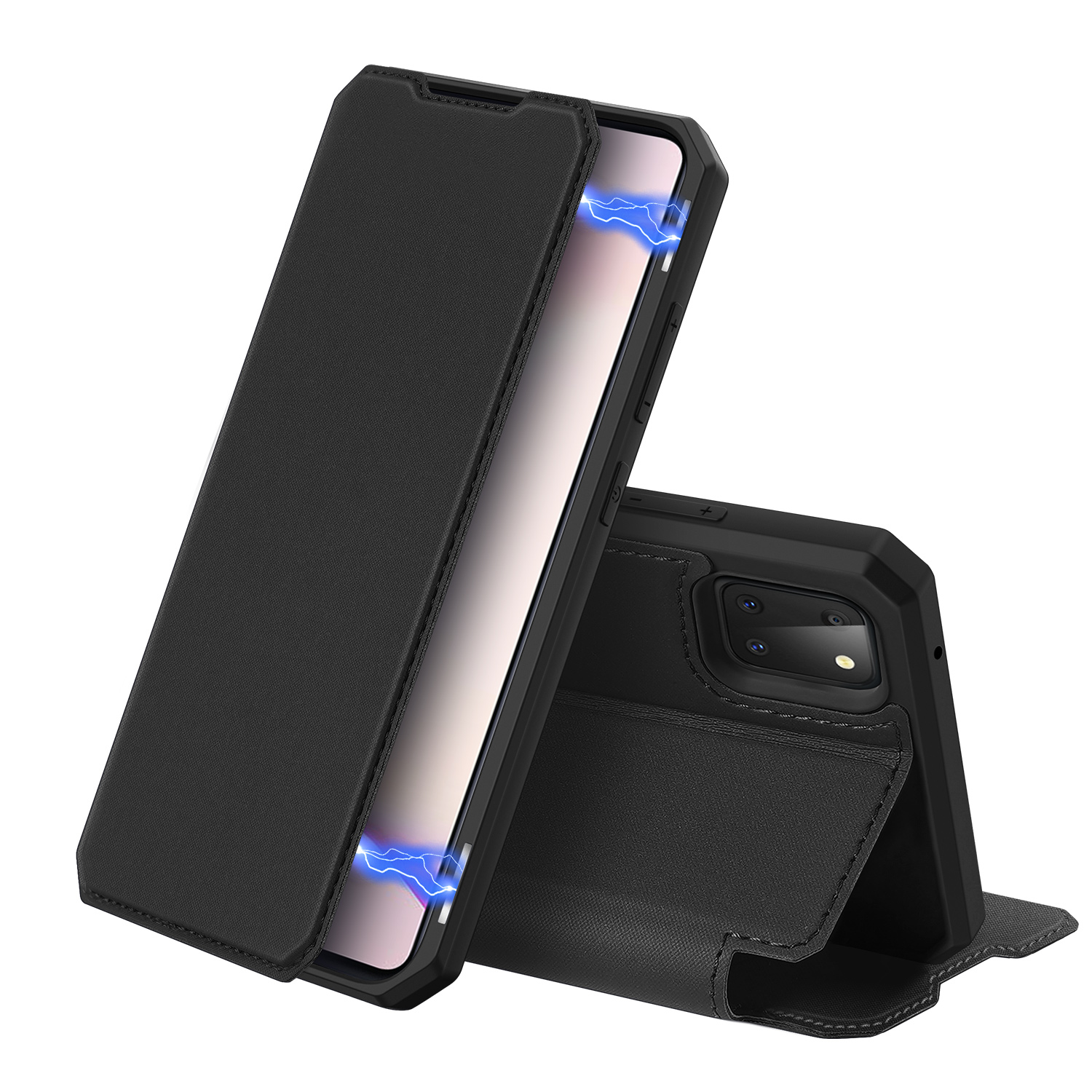 For Samsung NOTE 10 Lite Magnetic Protective Case Bracket with Card Slot Leather Mobile Phone Cover black