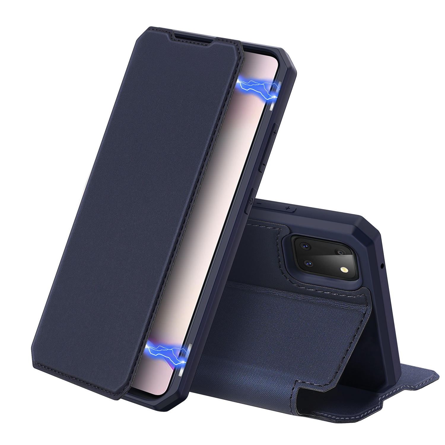For Samsung NOTE 10 Lite Magnetic Protective Case Bracket with Card Slot Leather Mobile Phone Cover Royal blue