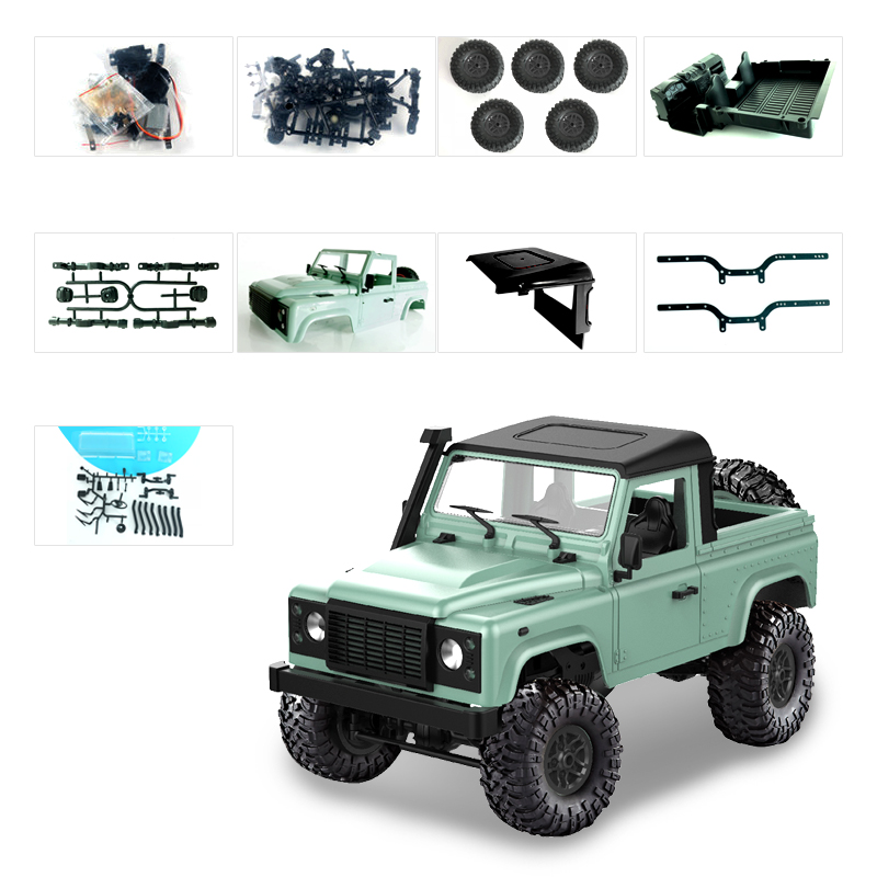1:12 2.4G Remote Control High Speed Off Road Truck Vehicle Toy RC Rock Crawler Buggy Climbing Car for PICKCAR D90 Kid Boy Toys KIT green without remote control, battery, charger