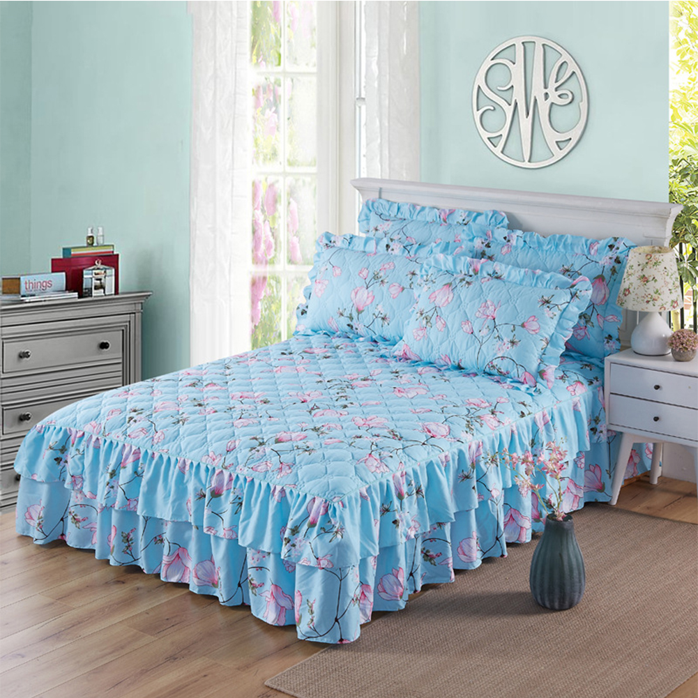 Graceful Quilted Thickened Bedspread Laced Fitted Sheet Two-Layer Bed Cover Wedding Housewarming Gift
