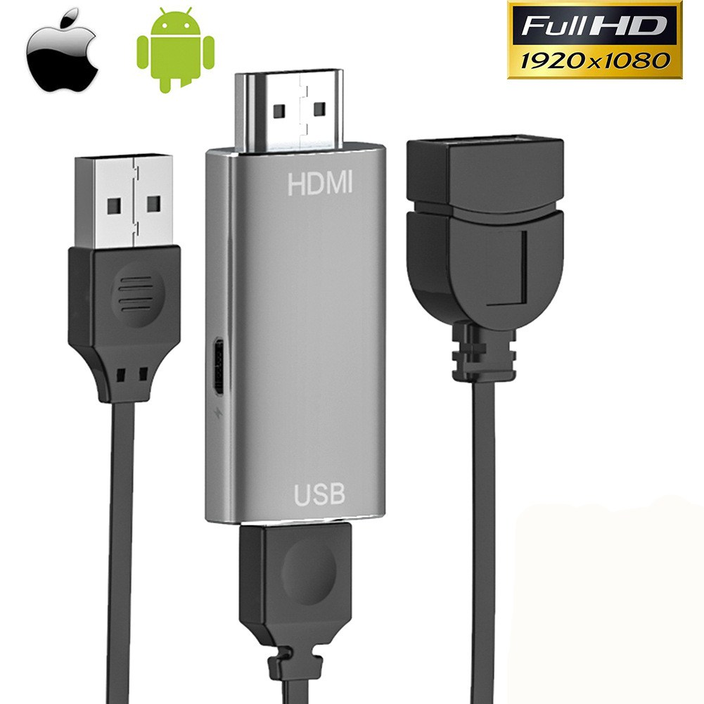 Android to Hdmi HD Cable Projection Screen for Iphone Android Mobile Phone TV ApowerMirror Converter Silver grey
