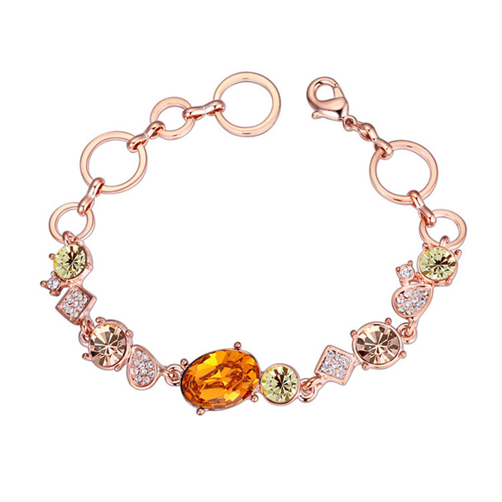 Charming Austria Crystal Bracelet Ethnic Style Hand Ornaments Champagne gold + yellow