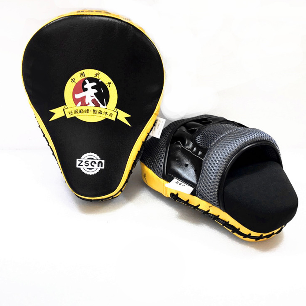 Boxing Sandbag Glove PU Leather Arc Fist Target Punch Pad for MMA Boxer Muay Thai Kick Fighting yellow_standard