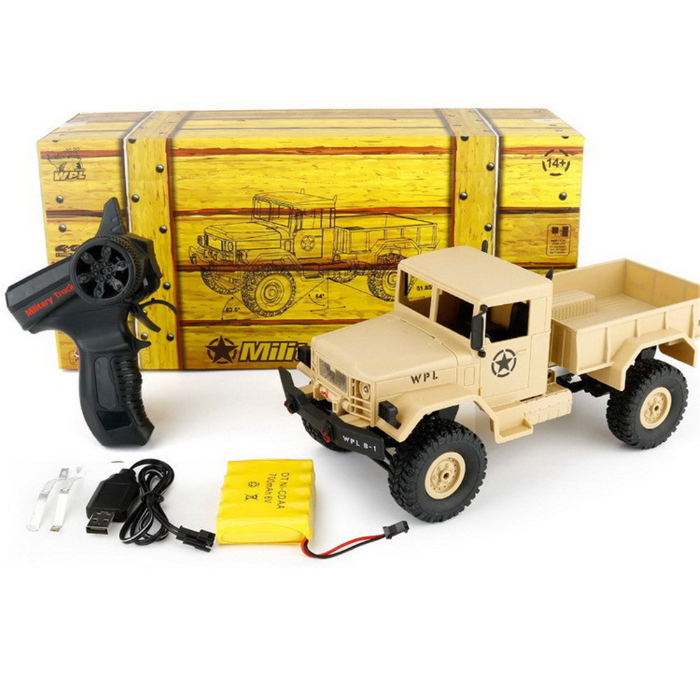 WPL B-14 RC Truck Remote Control 4 Wheel Drive Climbing Off-Road Vehicle Toy 2.4G Army Toys Car Shape with Head Lighting DIY KIT yellow_Vehicle