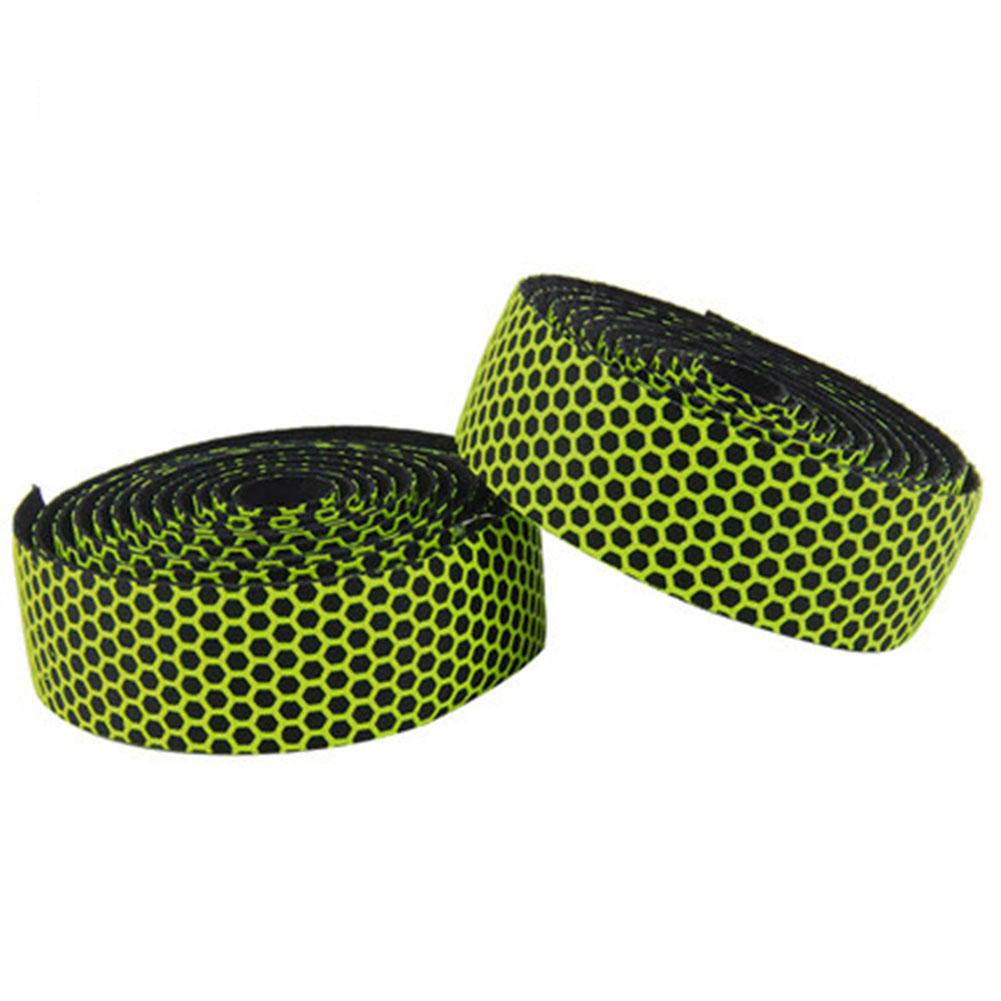 Soft Bicycle Handlebar Tape Shockproof Elastic Road Bike PVC Tape Strap +2 Bar Plug green