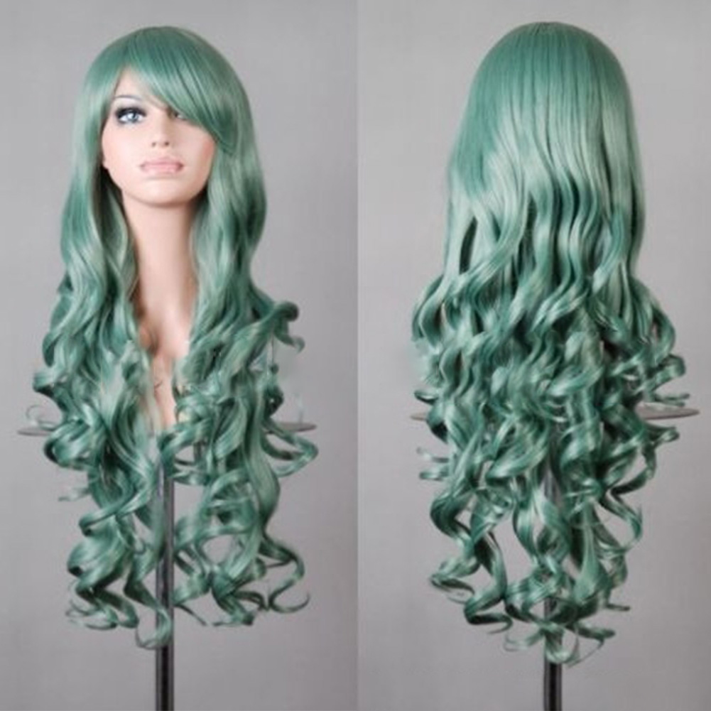 Wavy Hair Cosplay Long Wigs for Women Ladies Heat Resistant Synthetic Wig Mint Green