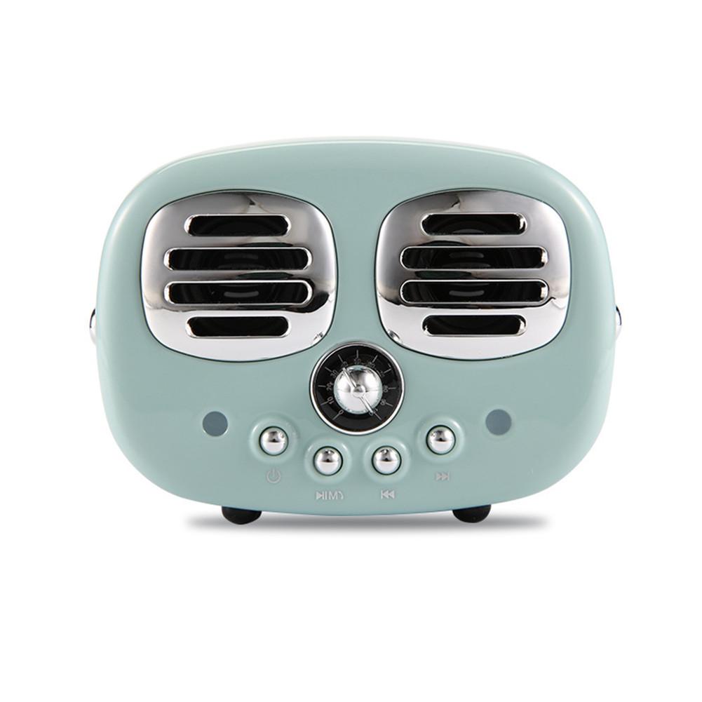Retro Bluetooth Wireless USB TF Card Dual Speaker Small Speaker Box green