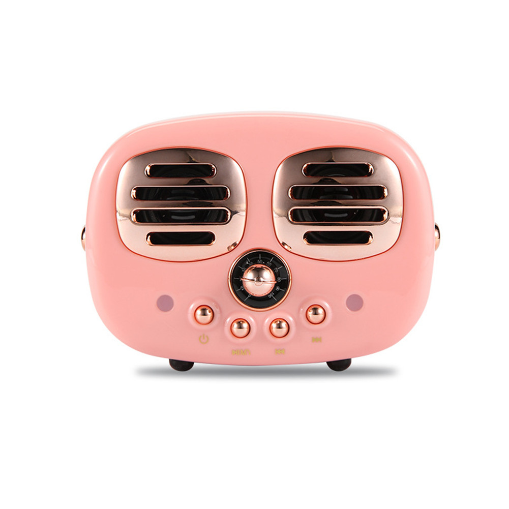 Retro Bluetooth Wireless USB TF Card Dual Speaker Small Speaker Box Pink