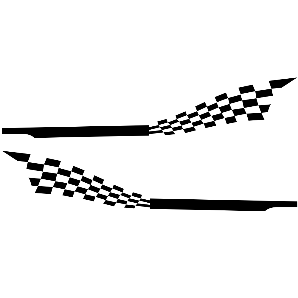 2pcs 215x30cm Both Sides Car DIY Checkered Flag Stickers Racing Stripes Wrap Vinyl Film Car Stickers black