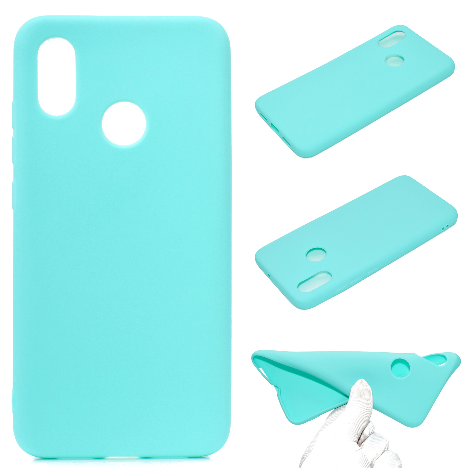 for XIAOMI Redmi S2 Lovely Candy Color Matte TPU Anti-scratch Non-slip Protective Cover Back Case Light blue