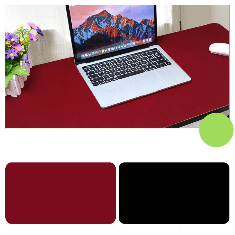 Double Sided Desk Mousepad Extended Waterproof Microfiber Gaming Keyboard Mouse Pad for Office Home School Black + red_Size: 60x30