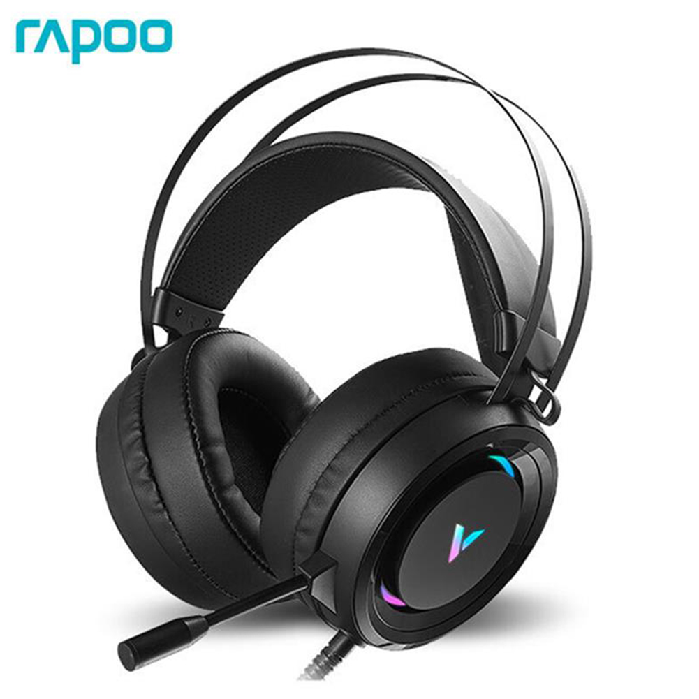 VH500 Wired Head-mounted Headset 7.1 Channel Rgb Gaming Headphone With Mic For Laptop Computer Black