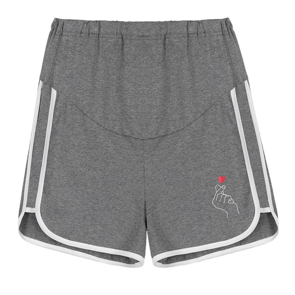 Pregnant Women Abdominal Shorts Casual Cotton Fashion Maternity Pants gray_L