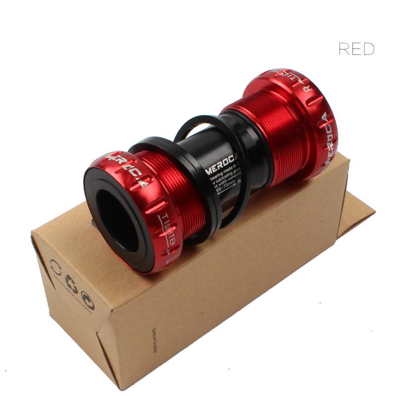 MEROCA Mountain Bike Bicycle BB Shaft Ceramic Cylinder Shaft Screw-in Center Shaft Thread Center Shaft Bottom Bracket red