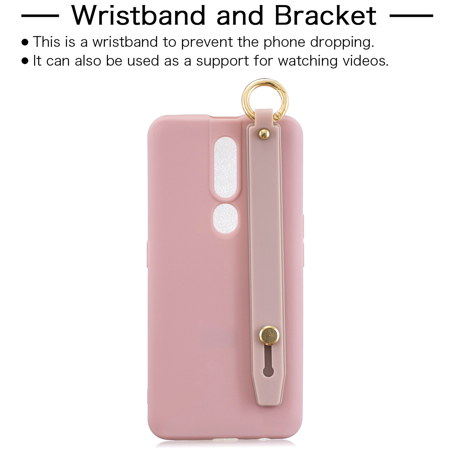 For OPPO F11 pro Simple Solid Color Chic Wrist Rope Bracket Matte TPU Anti-scratch Non-slip Protective Cover Back Case 11 Lotus pink