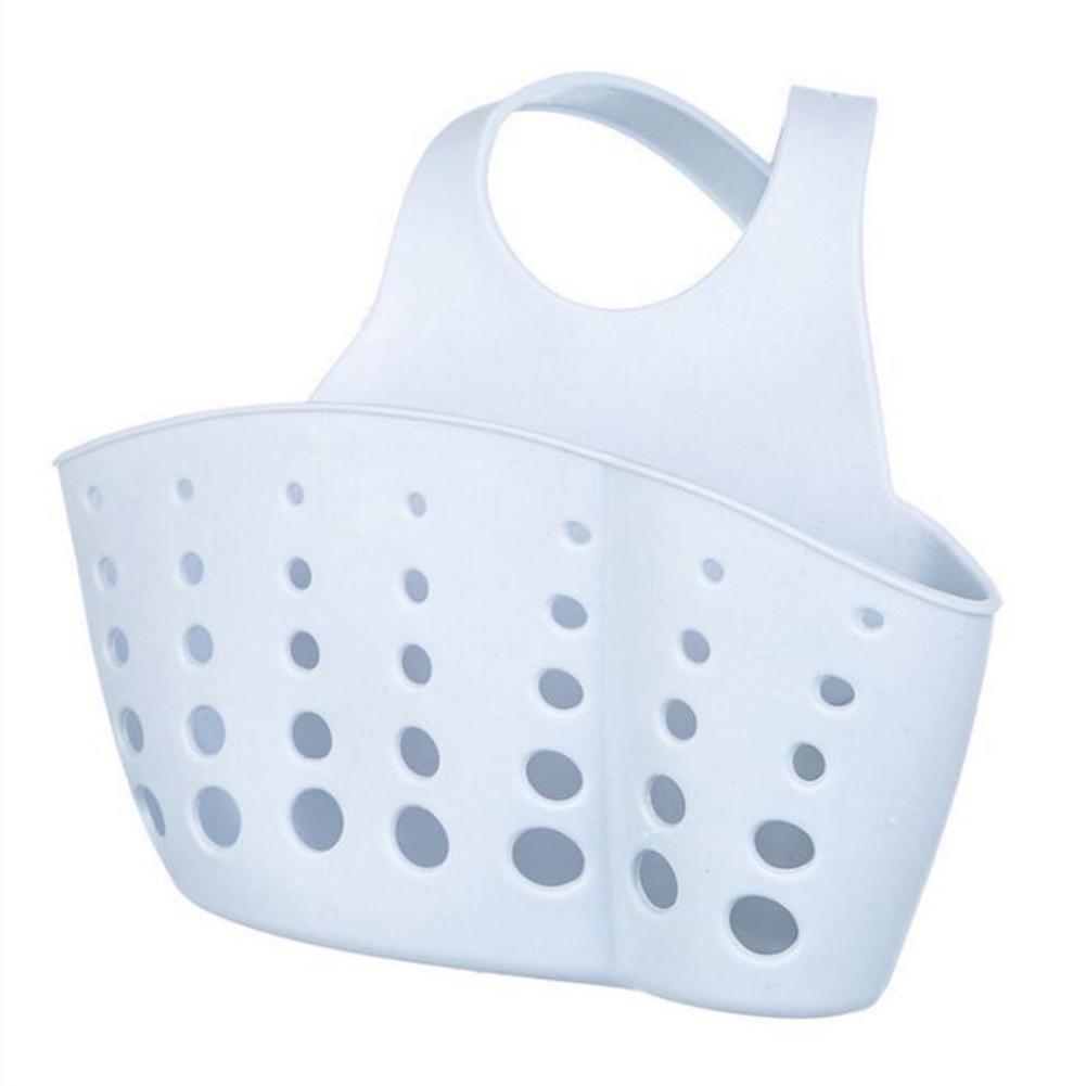 Adjustable Button Type Sink Storage Hanging Drain Basket for Kitchen Sponge Gray-blue