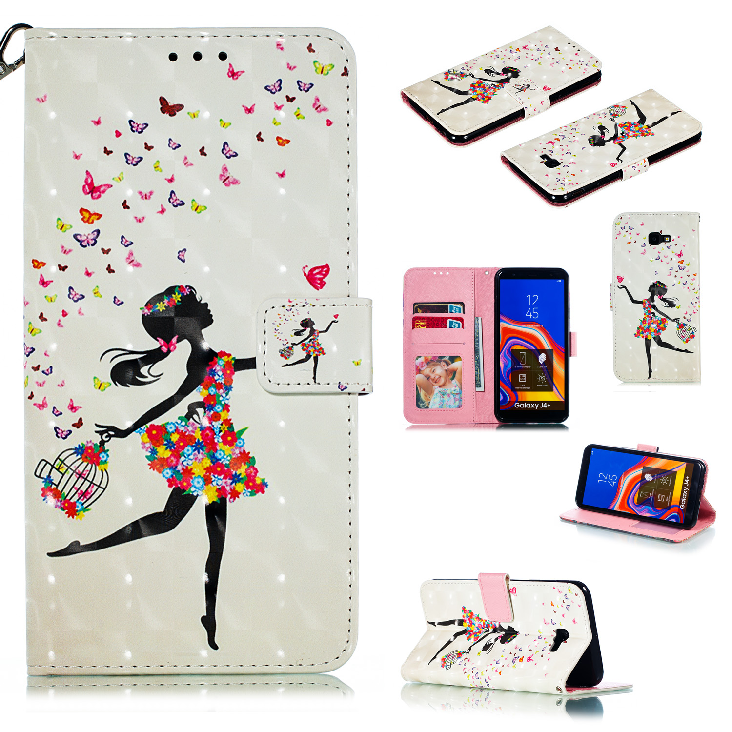 For Samsung J4+/J4 PLUS Cool 3D Coloured Painted PU Magnetic Clasp Wallet Phone Case with Bracket Lanyard Black girl