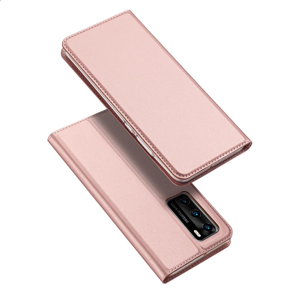 DUX DUCIS For HUAWEI P40 Leather Mobile Phone Cover Magnetic Protective Case Bracket with Cards Slot Pink