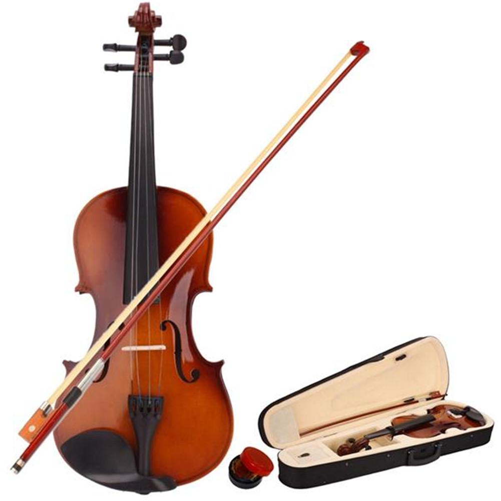 [US Direct] Acoustic Violin Fiddle Basswood 4/4 Natural Color Violin + Case + Bow + Rosin natural color