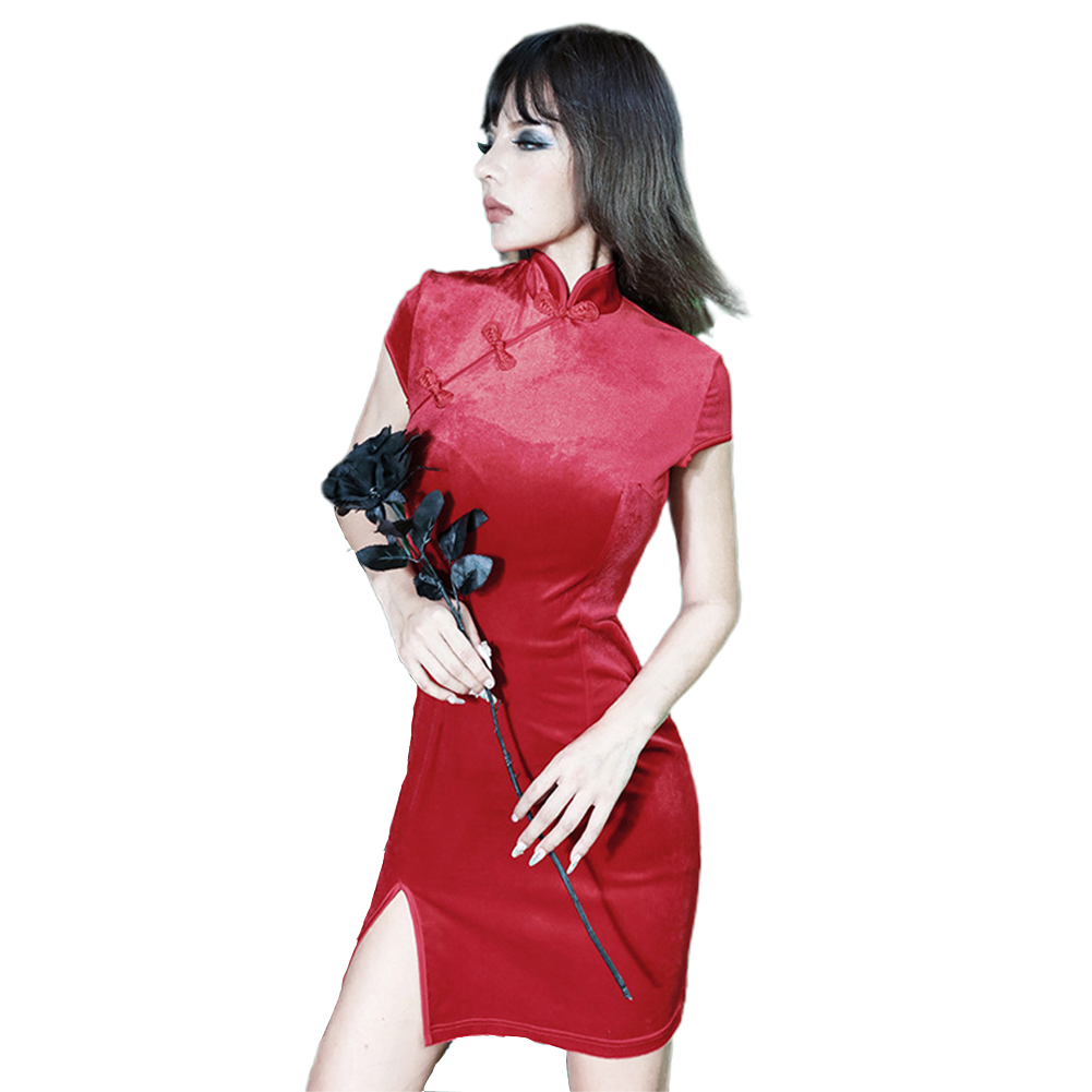 Women Halloween Cheongsam Retro Dress Dress Dark Sexy Dress red_S