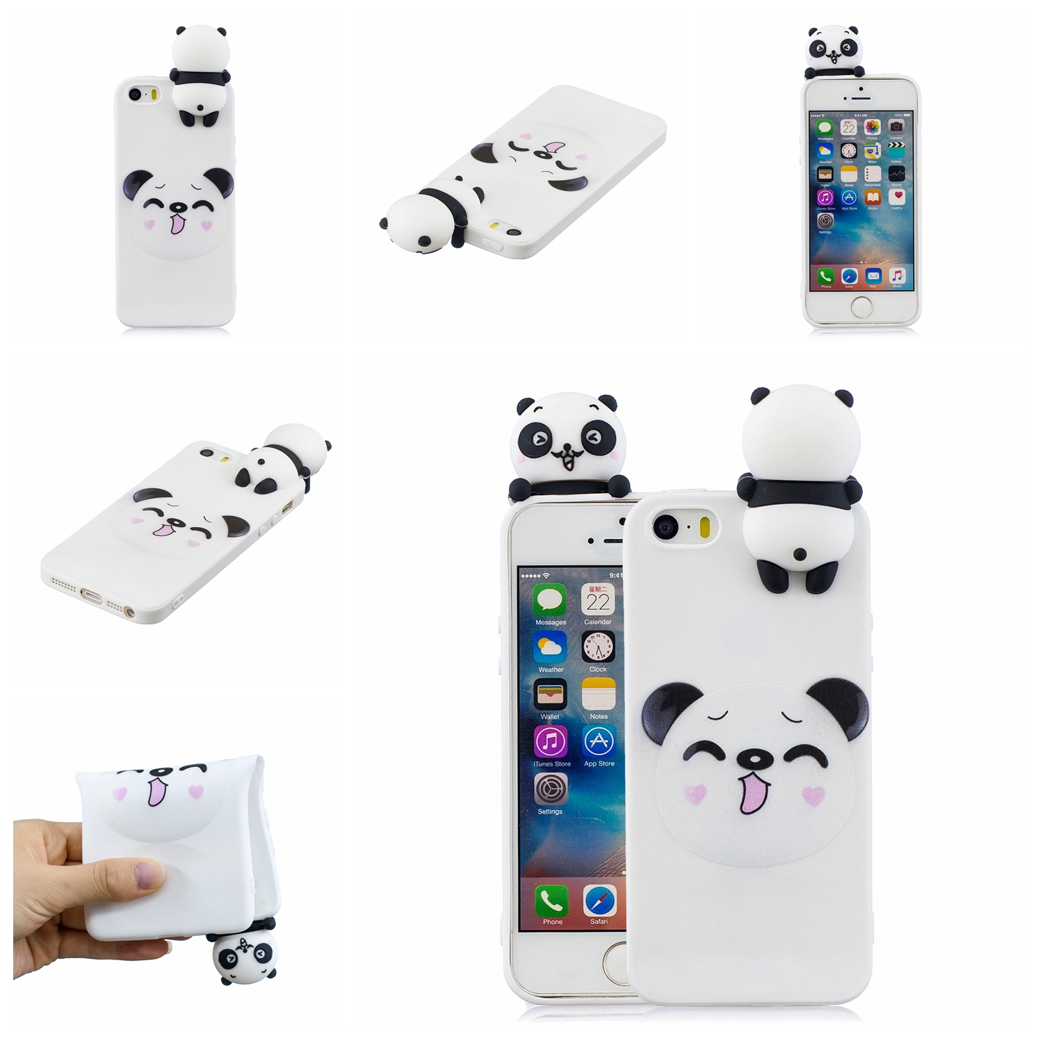 For iPhone 5/5S/SE 3D Cartoon Lovely Coloured Painted Soft TPU Back Cover Non-slip Shockproof Full Protective Case Smiley panda