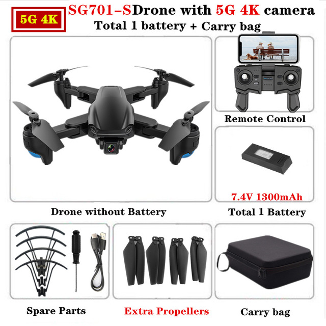 SG701 SG701-S GPS Drone with 5G WIFI FPV 4K Dual HD Camera Optical Flow Quadcopter Foldable RC Helicopter VS S167 E520S 5G storage bag