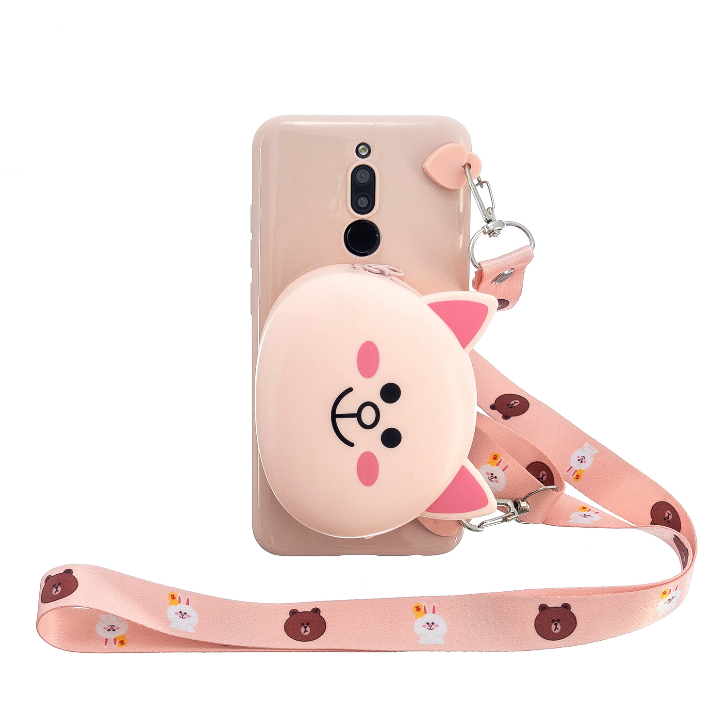 For Redmi 8/Redmi 8A Case Mobile Phone Shell Shockproof Cellphone TPU Cover with Cartoon Cat Pig Panda Coin Purse Lovely Shoulder Starp  Pink
