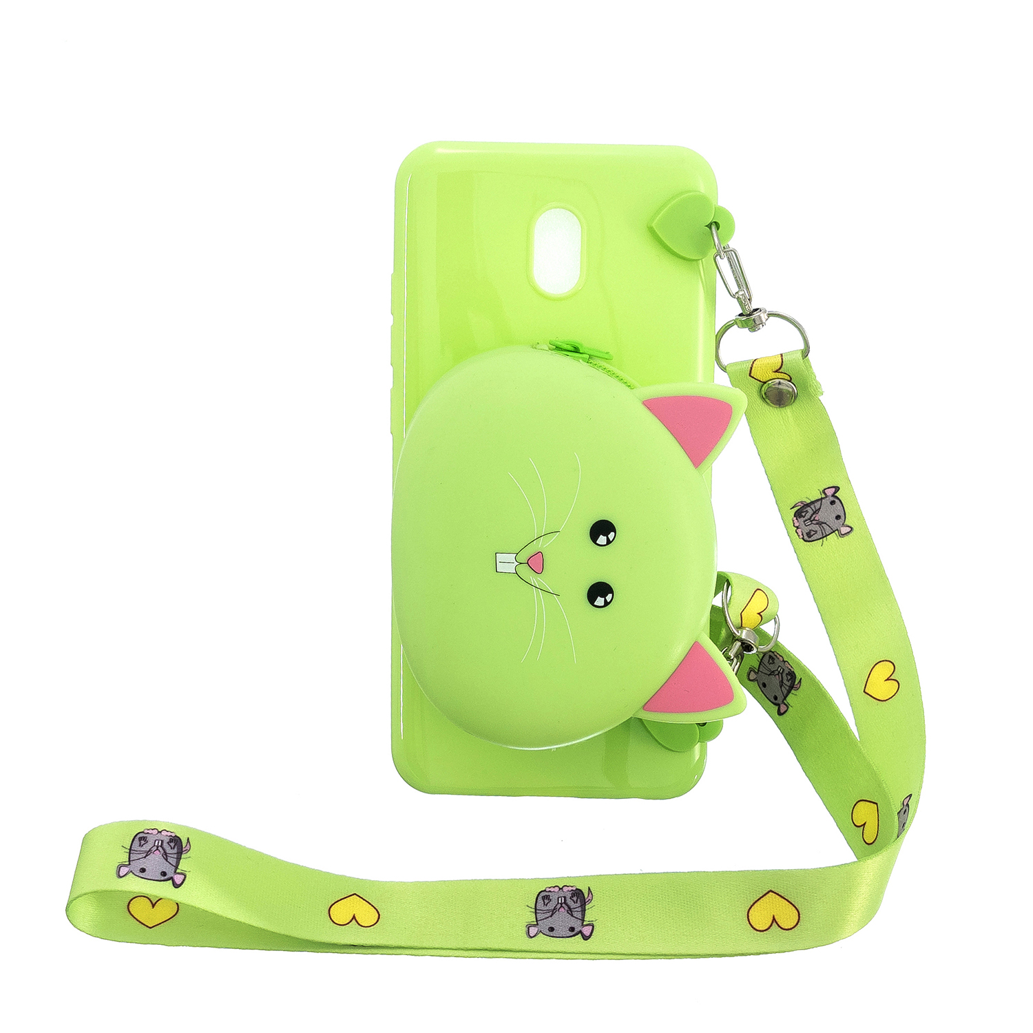 For Redmi 8/Redmi 8A Case Mobile Phone Shell Shockproof Cellphone TPU Cover with Cartoon Cat Pig Panda Coin Purse Lovely Shoulder Starp  Green