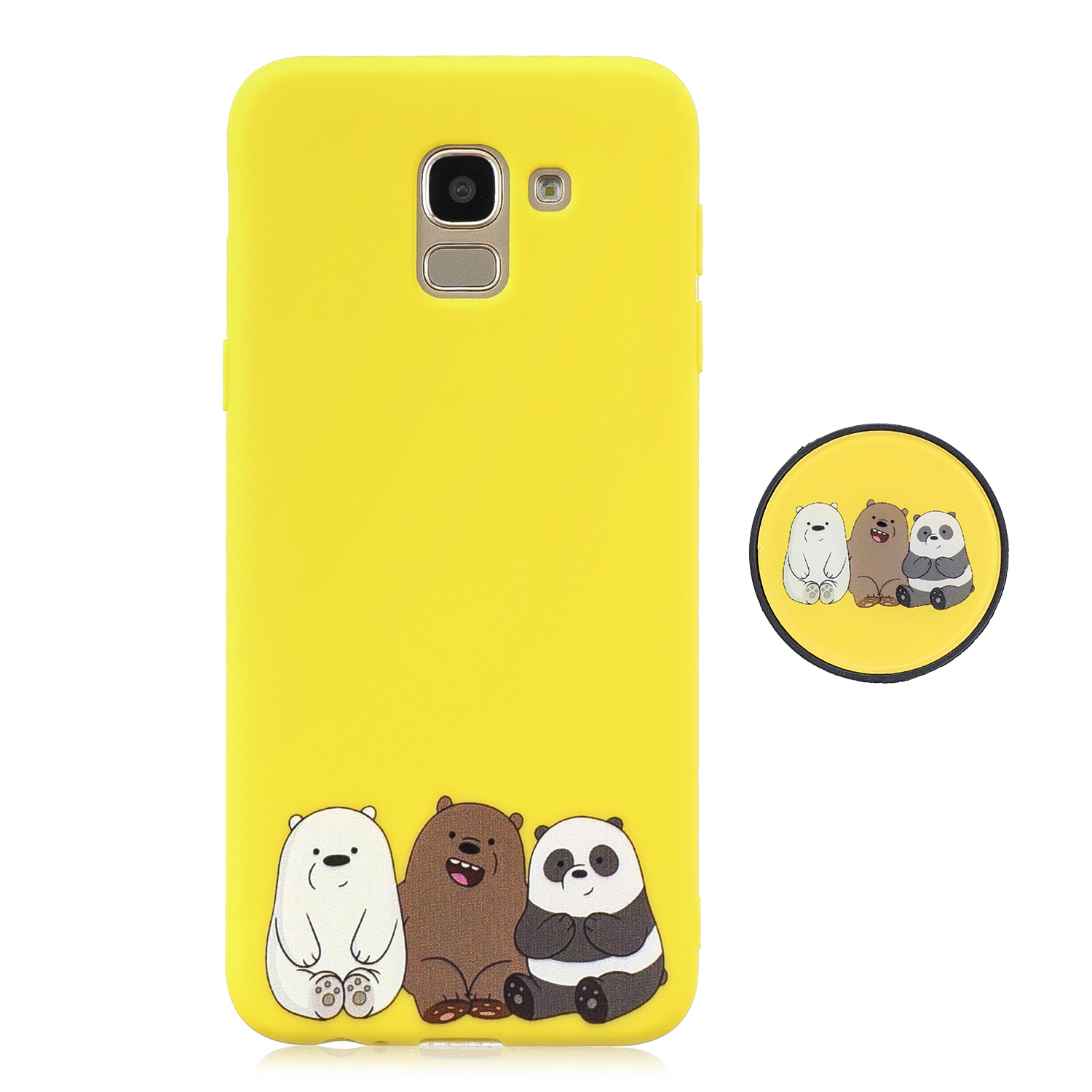 For Samsung J6 2018 Non-Slip TPU Bumper Case Shockproof Full-Body Protective Case Cover with Adjustable Bracket 7