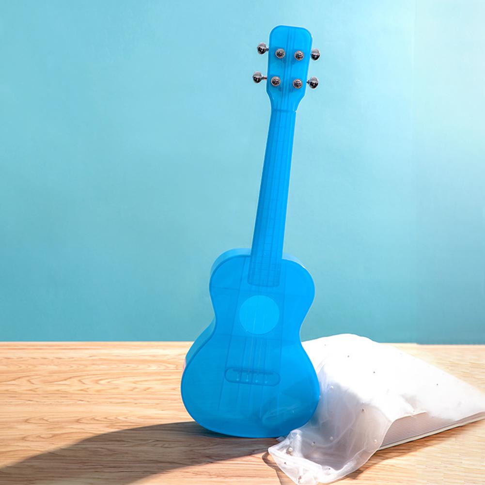 23 inch Transparent Ukulele Waterproof Outdoor Hawaiian Small Guitar Ukulele Musical Instrument Transparent Blue