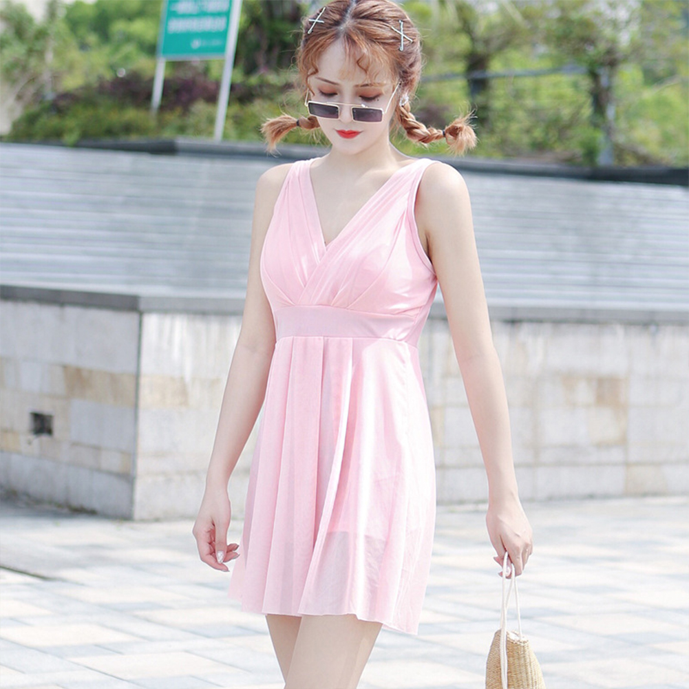 Women  Swimsuit  Skirt-style One-piece Sleeveless Plain Color Gauze Sexy Slimming Swimsuit Pink_L