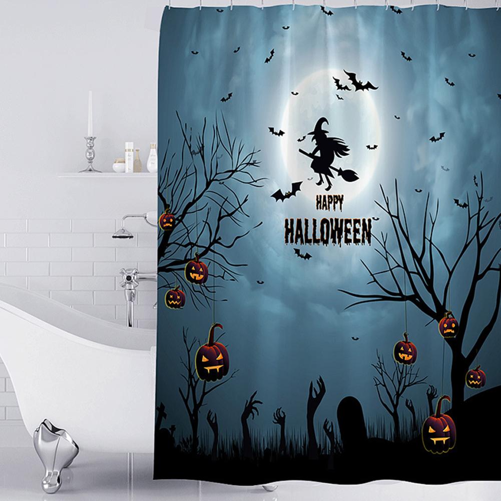 Halloween Series Waterproof Printing Shower Curtain for Bathroom Decoration Halloween - Ghost_180*180cm