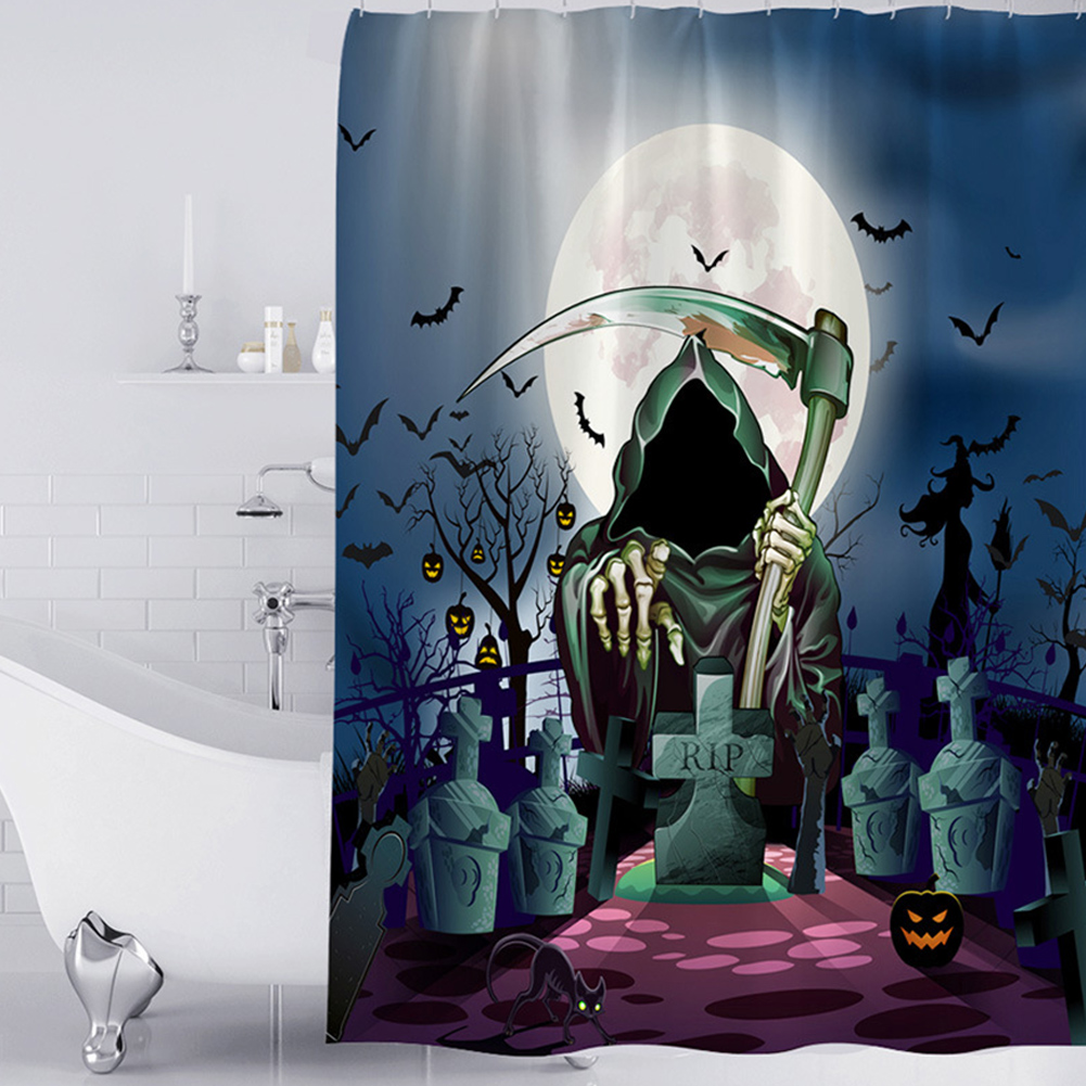 Halloween Series Waterproof Printing Shower Curtain for Bathroom Decoration Halloween - grave_180*180cm