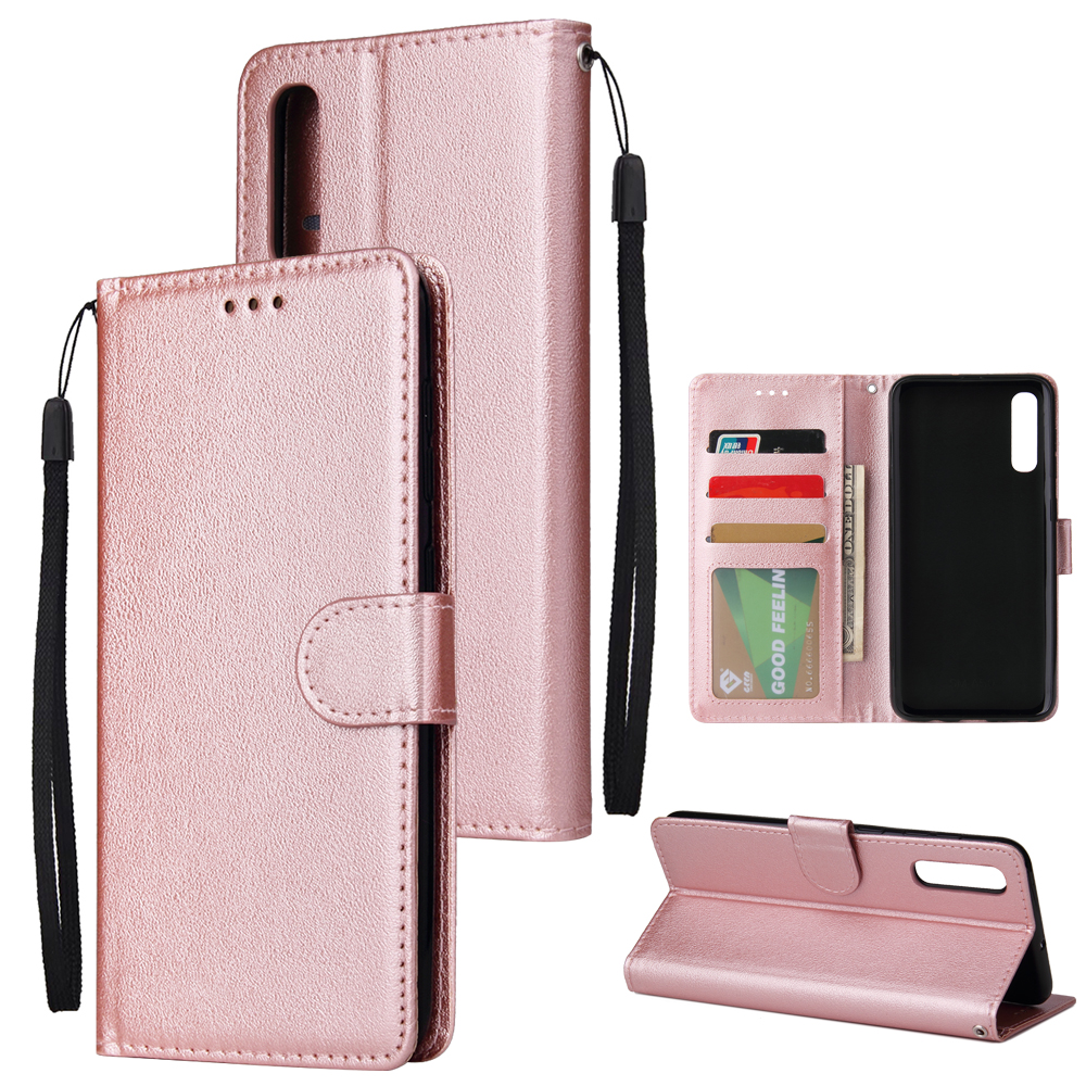 For Samsung A50 Wallet-type PU Leather Protective Phone Case with Buckle & 3 Card Position Rose gold