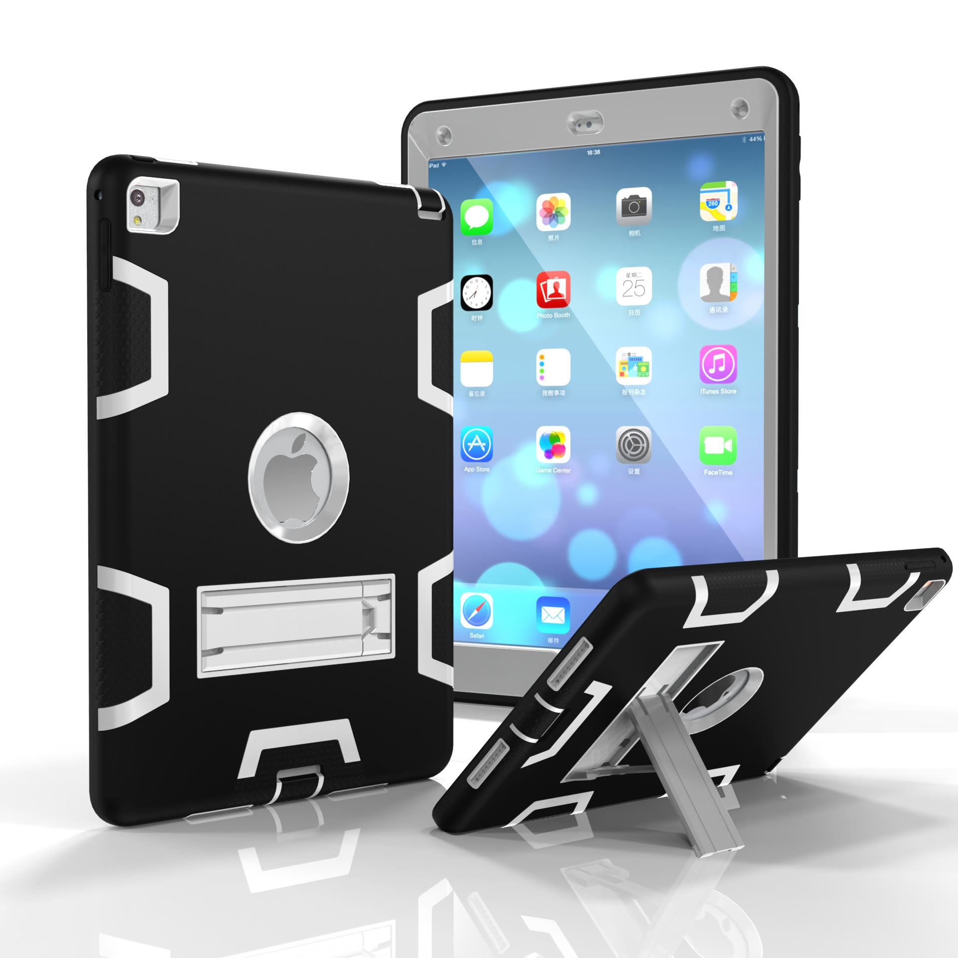 For iPad air2/iPad 6/iPad pro 9.7 2016 PC+ Silicone Hit Color Armor Case Tri-proof Shockproof Dustproof Anti-fall Protective Cover  Black + gray