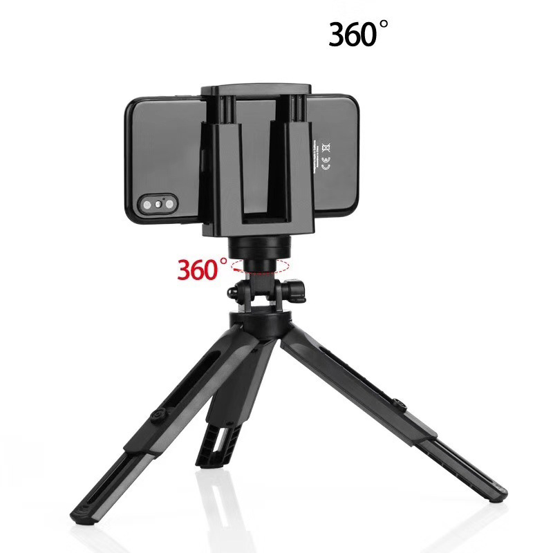 Mini Portable Tripod Selfie Telescopic Foldable Desktop Camera Mobile Phone Stand Holder Bracket black