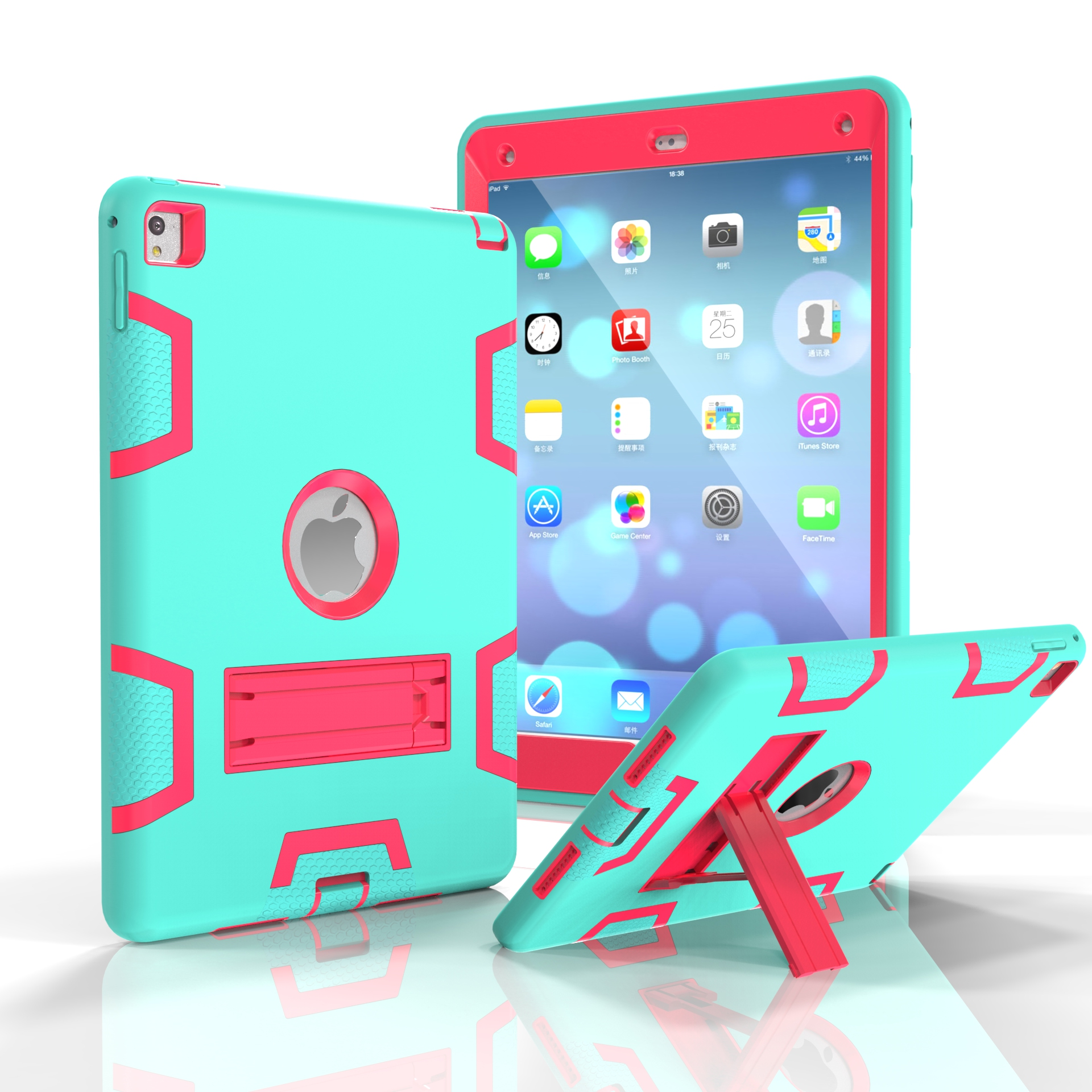 For iPad air2/iPad 6/iPad pro 9.7 2016 PC+ Silicone Hit Color Armor Case Tri-proof Shockproof Dustproof Anti-fall Protective Cover  Mint green + rose red