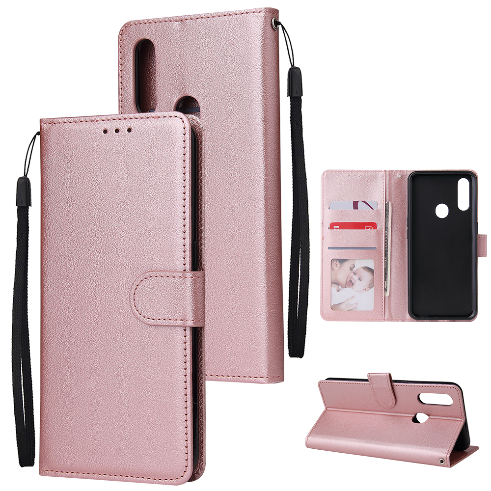 For OPPO A8 / A31/Realme XT / X2 Mobile Phone Case PU Buckle Closure Wallet Design Cards Slots All-round Protection Phone Cover  Rose gold