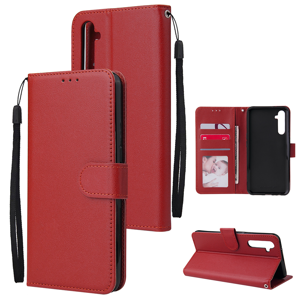 For OPPO A8 / A31/Realme XT / X2 Mobile Phone Case PU Buckle Closure Wallet Design Cards Slots All-round Protection Phone Cover  red