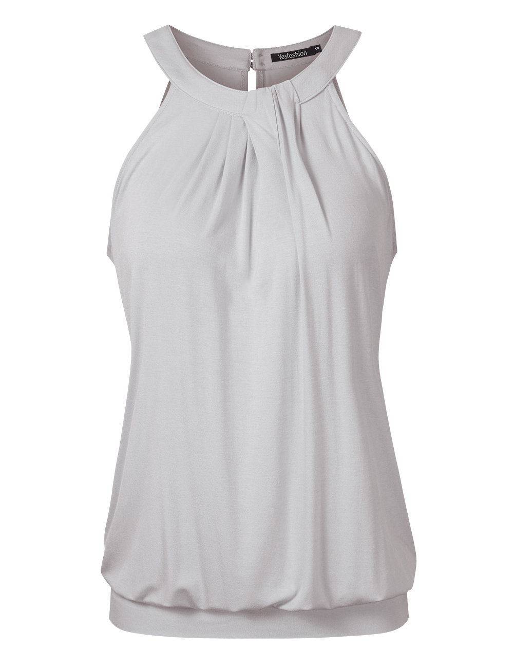 Yesfashion Women's Casual Halter Neck Sleeveless Solid Front Pleated Backless Sexy Top