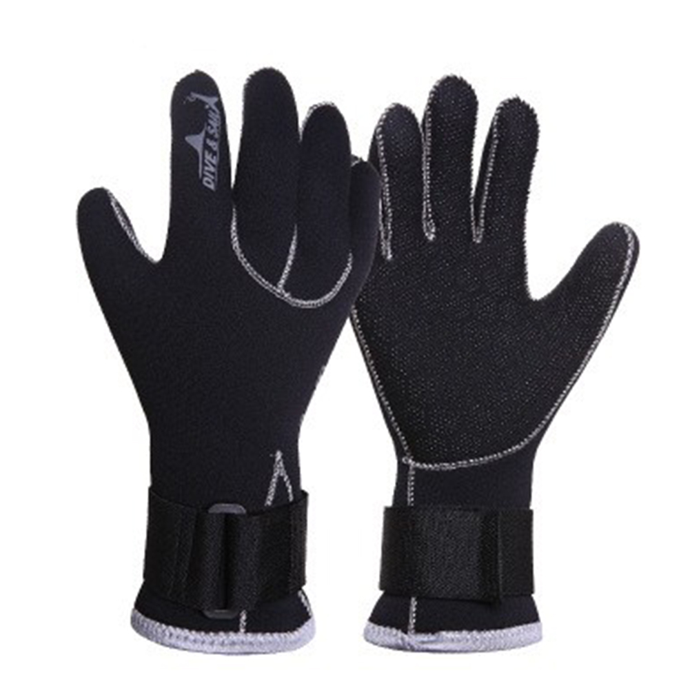 3MM Diving Surfing Anti-Slip Flexible Thermal Gloves with Adjustable Waist Strap Black L
