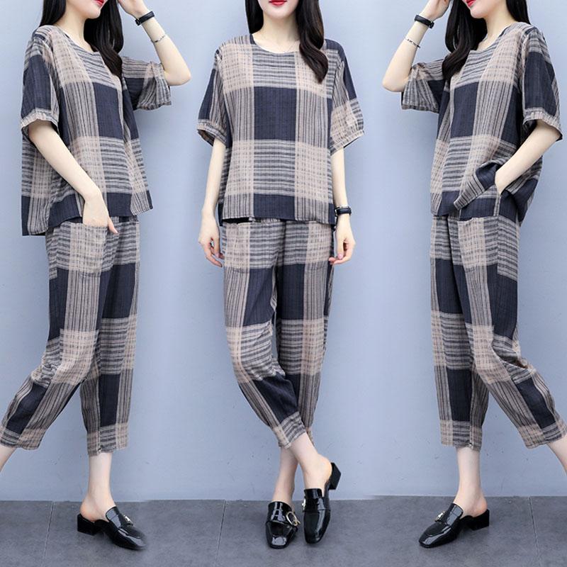 2Pcs/set Lady Short Sleeve T-shirt + Ninth Straight Bottom Pants Summer Plaid Casual Suit light grey_XL