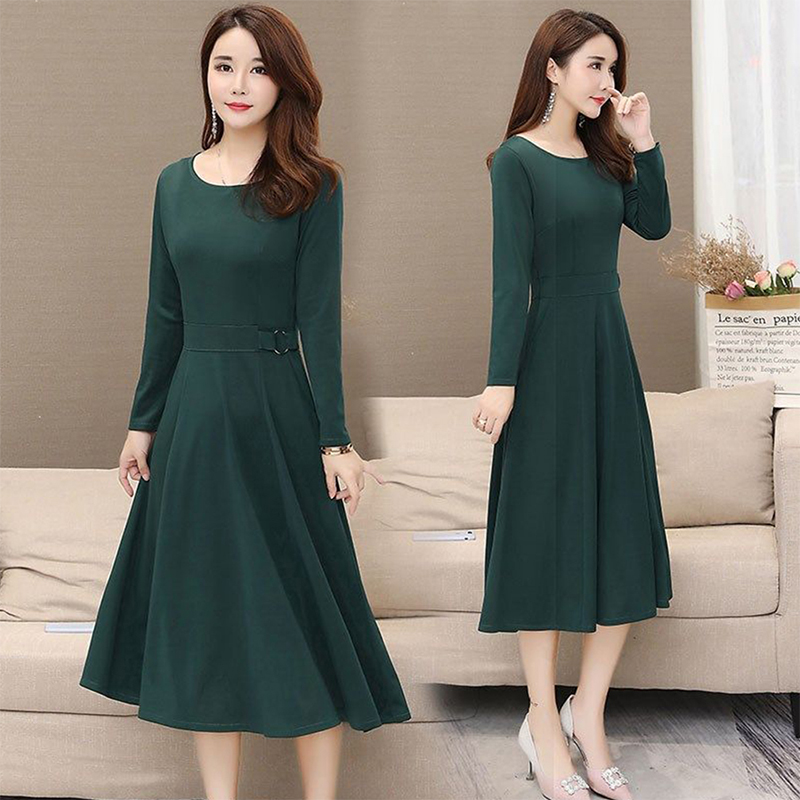 Women Plus Size Ribbon Midi Dress Solid Color Crew Neck Knee Length Short Sleeve Dress green_2XL