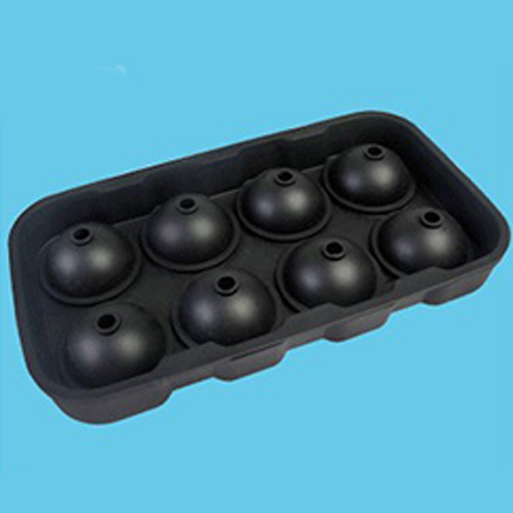 8 Cavities Ice Balls Maker Round Silicone Tray Mold for Ice Pudding Mousse Jelly black_black