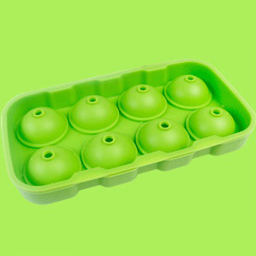 8 Cavities Ice Balls Maker Round Silicone Tray Mold for Ice Pudding Mousse Jelly green_green