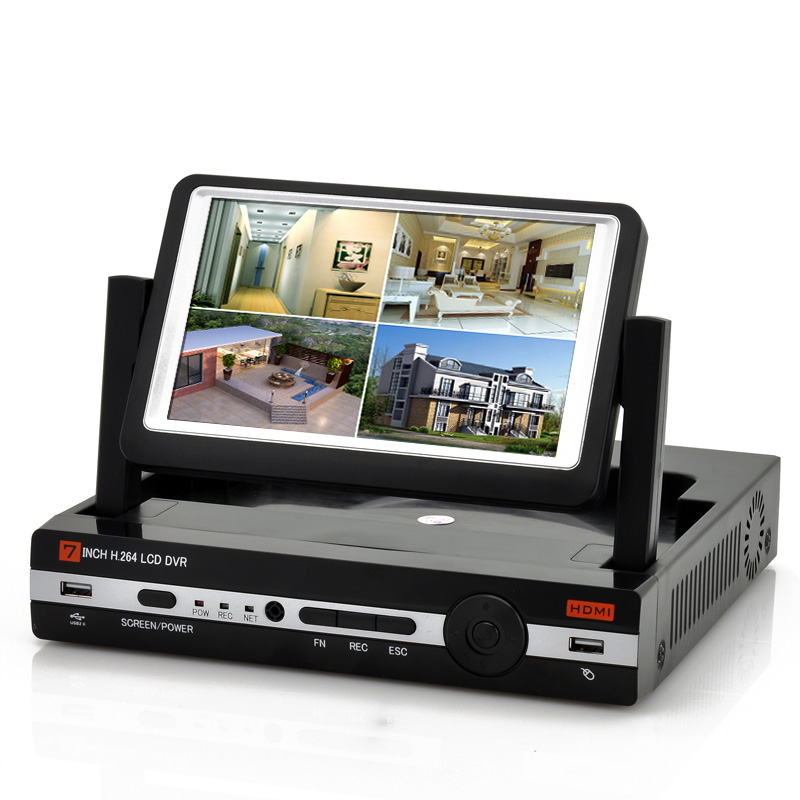 4CH DVR w/ 7 Inch Screen + D1 Resolution