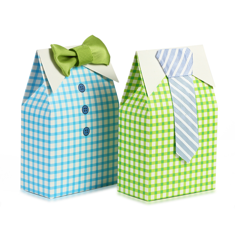 Candy Box Striped Tie Plaid Pattern Candy Box for Wedding Party Celebration 25 pairs