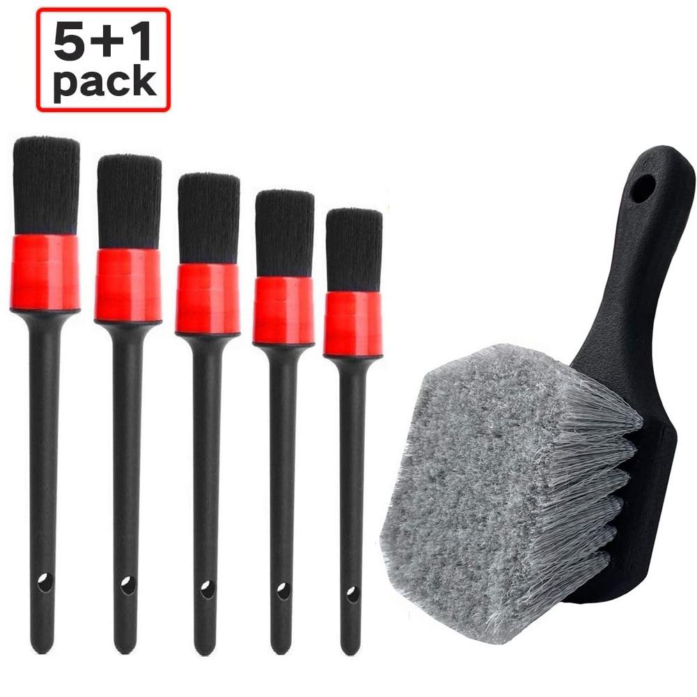 6PCS Wheel Tire Brush Soft Bristle Car Wash Brush Detailing Brush Car Cleaning Brush red