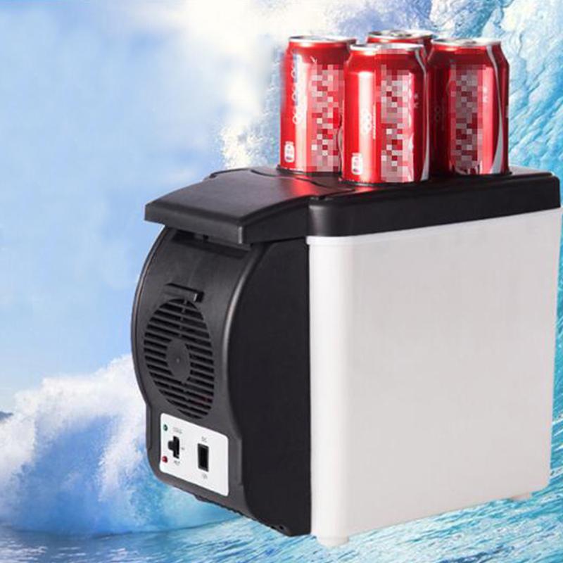 Mini 6L Car Refrigerator 12v Multi-function Travel Fridge Home Cooler Warmer with 4 Drink Holes Electric Fridge black_12V for car